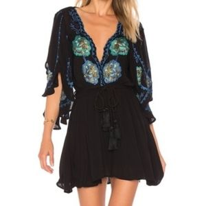 Free People Cora Black Floral Embroidered Dress